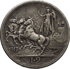 1917 ITALY King Victor Emmanuel III Silver 2 Lire Antique ITALIAN Coin i57301