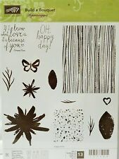Stampin Up BUILD A BOUQUET Photopolymer stamps woodgrain stems watercolor