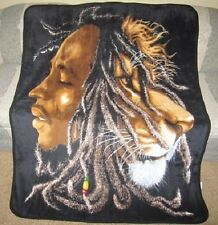 New Bob Marley Lion Head Plush Fleece Warm Throw Blanket Rasta Reggae Zion NWT