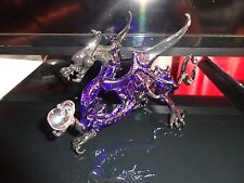 Dragon Purple Black Figurine of Blown Glass Crystal