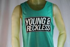 YOUNG & RECKLESS GREEN MEN TANK TOP BLACK LOGO size X-Large / XL