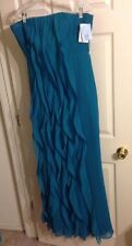 NWT VERA WANG White Label Teal Turquoise Strapless Ruffles Dress Gown sz 10