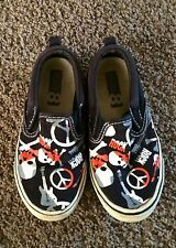 CRAZY 8 SLIP ON SHOES.  SIZE 10.  BLACK WITH PEACE SIGNS. SKULLS.