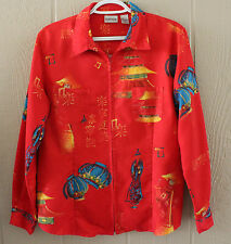 CHICO'S 1  Red Moleskin Asian Design Shirt