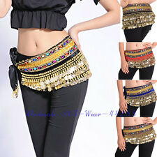 Belly Dance Costume Belt Hip Scarf Skirt Wrap with Gold Coins and Gemstone UK