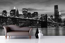 Modern City Skyline Wallpaper Murals Black White Wall Sticker Background Decals