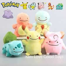 5 Pokemon Pikachu Charmander Squirtle Bulbasaur Clefairy Ditto Metamon Plush Toy