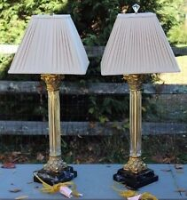 Pair of Crystal & Gold Brass Corinthian Column Table Lamps w/ Shades Bombay Co