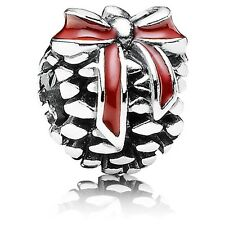 New Authentic Pandora Charm 791237EN39 Christmas gift bag Pine Cone Bag Included