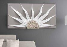 QUADRO DESIGN SOLAR STORM WHITE PANNELLO LACCATO FREGIO IN FOGLIA ARGENTO160x80