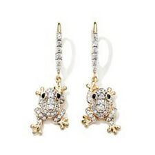 "VICTORIA WIECK 0.62CT ABSOLUTE AND CREATED SAPPHIRE ""FROG"" VERMEIL EARRINGS HSN"