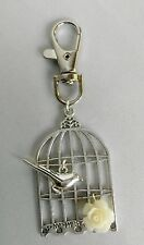 A Birdcage Bird Rose Flower Charm Keyring, Key Chain Handbag, Bag Charm Zip Pull