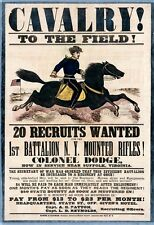 LARGE US CIVIL WAR UNION ARMY 1ST CAVALRY RECRUIT POSTER ART REAL CANVAS PRINT