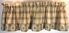 Country Green Tan Brown Plaid Pinecone Pine Lodge Cotton Valance 72x14