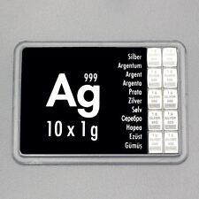 10 x 1 Gramm 999 AG Silber Silbertafel Silberbarren CombiBar ESG Valcambi NEU