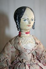fine early german wooden doll with curls & special body Grodnertal or Sonneberg
