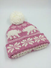 GIRLS BABY PINK CREAM POLAR BEAR KNITTED BOBBLE HAT SIZE 40cm 0318