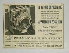 Pubblicità 1952 BOX CONTAX ZEISS IKON FOTO PHOTO old advertising reklame werbung
