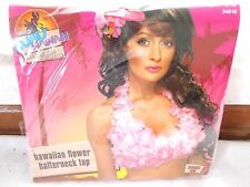 New Smiffy's Luau Hawaiian Flower Halter Neck Top Pink White Costume Tropical