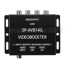 1 to 4 Video Amplifier Booster Distribution Splitter RCA for Car LCD DVD Player