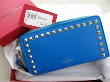 Valentino AUTH NIB Rockstud Bright Blue Smooth Leather Continental Wallet Clutch