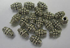20 Bali Metal Spacer Beads Antique Silver Tone Bead Beading & Jewellery Oval 2