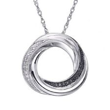 "Sterling Silver Genuine Black Diamond Accent Circle Knot Pendant on 18"" Necklace"