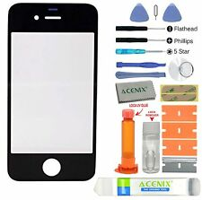 ACENIX® Apple iPhone 4 4s Black Outer Front Glass Screen Replacement Repair Kit