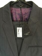 Genuine Men's Ted Baker Single Breasted Pashion Suit, Wool, Metallic Blue 36R