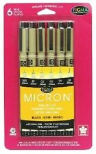 Sakura MICRON Pens 6 pc ALL BLACK Various Point Sizes #30062 005 01 02 03 05 08