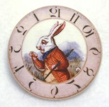 Clock & Rabbit Alice in Wonderland Fabric Button 1 & 1/2 in FREE US SHIPPING