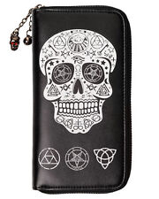 BANNED PENTAGRAM OCCULT SKULL WALLET PURSE TATTOO GOTH WITCHCRAFT PUNK BIKER
