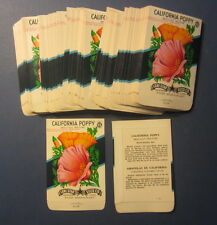 Wholesale Lot of 100 Old Vintage - CALIFORNIA POPPY - Flower SEED PACKETS