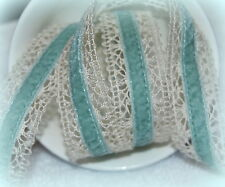"""Ribbon Queen Velvet Trimmed  Victorian Lace 22mm (1.5"""") Lots of colours"""