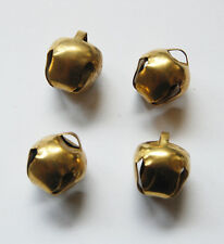 VINTAGE 4 BRASS PLATED METAL JINGLE BELL BELLS WORKS 1/2 inch wide
