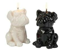 "Bulldog Puppy Candles, Set 2 White & Black, New, Burns 4 hours each, 4 1/2"" tall"