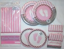 It's A GIRL BABY SHOWER PARTY Supply Set PINK TABLE COVER, 32 NAPKINS 32 PLATES