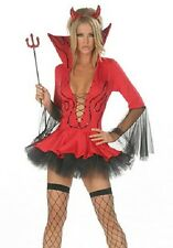 Sexy Women's Red Hot Sequin Devil Halloween Fancy Dress Costume