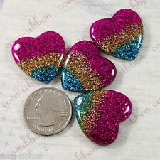 8PC 28mm Glitter Sparkle Rainbow Heart Flatback Resin Cabochon