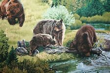 GRIZZLY BEAR FABRIC! REALISTIC BEARS & CUTE CUBS! GREAT WILDLIFE FABRIC