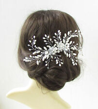 Large White Pearl Rhinestone Leaves Hair Comb Vine Bridal Wedding Silver Vtg 218