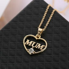 Chic Gold Lady Crystal Heart Mother Pendant Necklace Christmas Gift New Jewelry