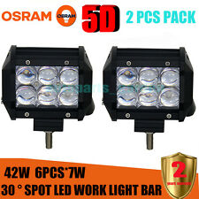 2X 5D SPOT 4inch 42W OSRAM Led Light Bar Work Light 4WD Off-road Driving Lamp