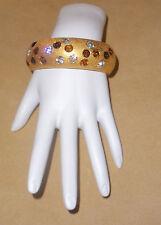 Jackie Collins Bold Gold Tone Hinged Bangle Bracelt w/ Bezel Set Rhinestones
