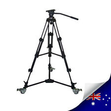 PROFESSIONAL VIDEO TRIPOD WITH FLUID DRAG HEAD + PROFESSIONA DOLLY - NEW