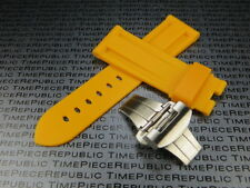 24mm Yellow Rubber Diver Strap Deployment Buckle Watch Band PAM B