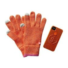 JUICY COUTURE ORANGE TEXTING GLOVE AND IPHONE 4 4S GELLI GIFT SET ORG. $78 BNWT