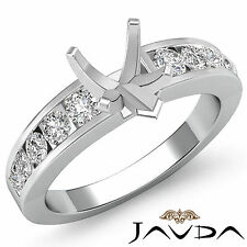 Diamond Engagement Heart Semi Mount women's Ring Channel Setting Platinum 0.7Ct