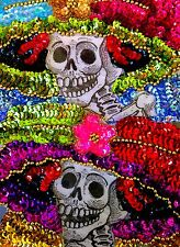 Authentic Mexican Sequinned Applique Patch Catrina Day of the Dead