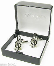 NOVELTY SILVER MUSICAL NOTE TREBLE MUSICIAN CUFF LINKS MENS XMAS BNIB NEW UK